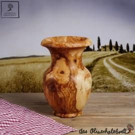 Blumen Vase aus Olivenholz bauchig