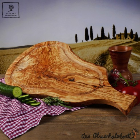 olivenholzbrett wooden steak board with handle and juice groove berlin