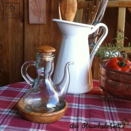 Ölkännchen mit Unterschale aus Olivenholz