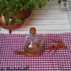 Ölkännchen mit Unterschale und Griff aus Olivenholz