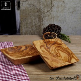 Olive wood bowl, perfect as a snack bowl, rectangular
