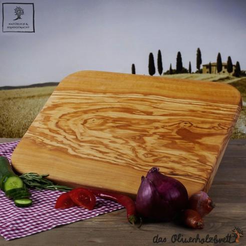 Schneidebrett Olivenholz, groß, rechteckig und mit gerundeten Kanten