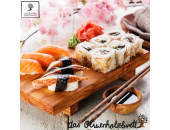Enyoing Sushi on olive wood cutting boards